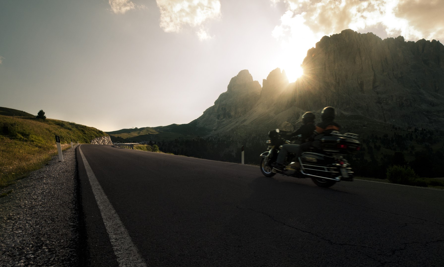 To the Sella Pass with a motorbike
