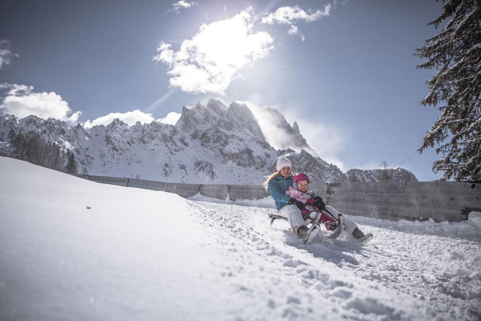 Slittare sulle Dolomiti